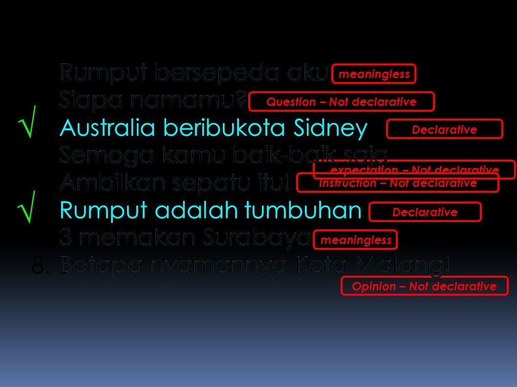 √ √ Rumput bersepeda aku Siapa namamu Australia beribukota Sidney