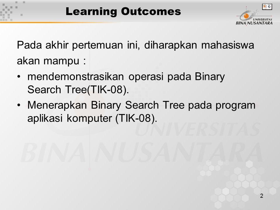 Learning Outcomes Pada akhir pertemuan ini, diharapkan mahasiswa. akan mampu : mendemonstrasikan operasi pada Binary Search Tree(TIK-08).