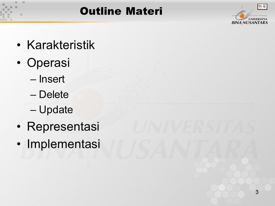 Karakteristik Operasi Representasi Implementasi Outline Materi Insert
