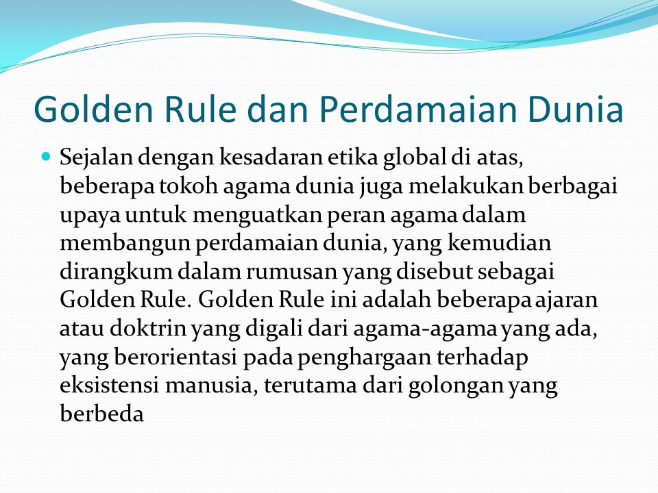Golden Rule dan Perdamaian Dunia