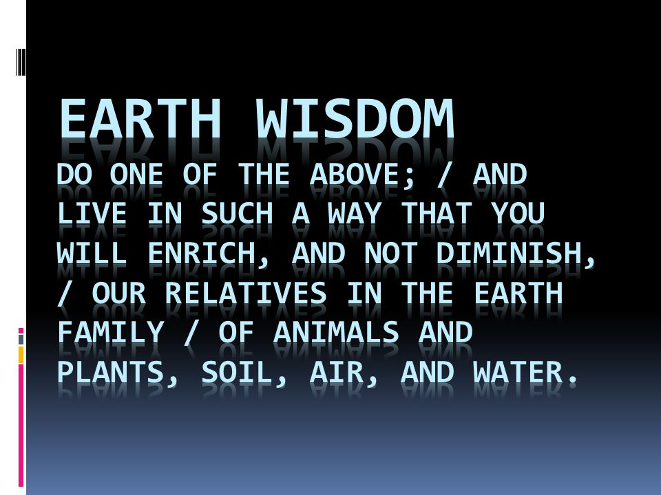 Earth Wisdom Do one of the above; / And live in such a way that you will enrich, and not diminish, / Our relatives in the Earth family / Of animals and plants, soil, air, and water.