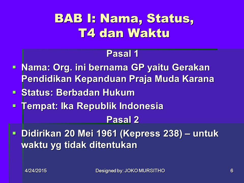 BAB I: Nama, Status, T4 dan Waktu