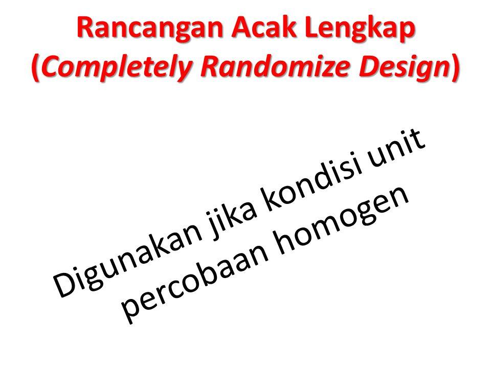 Rancangan Acak Lengkap (Completely Randomize Design)