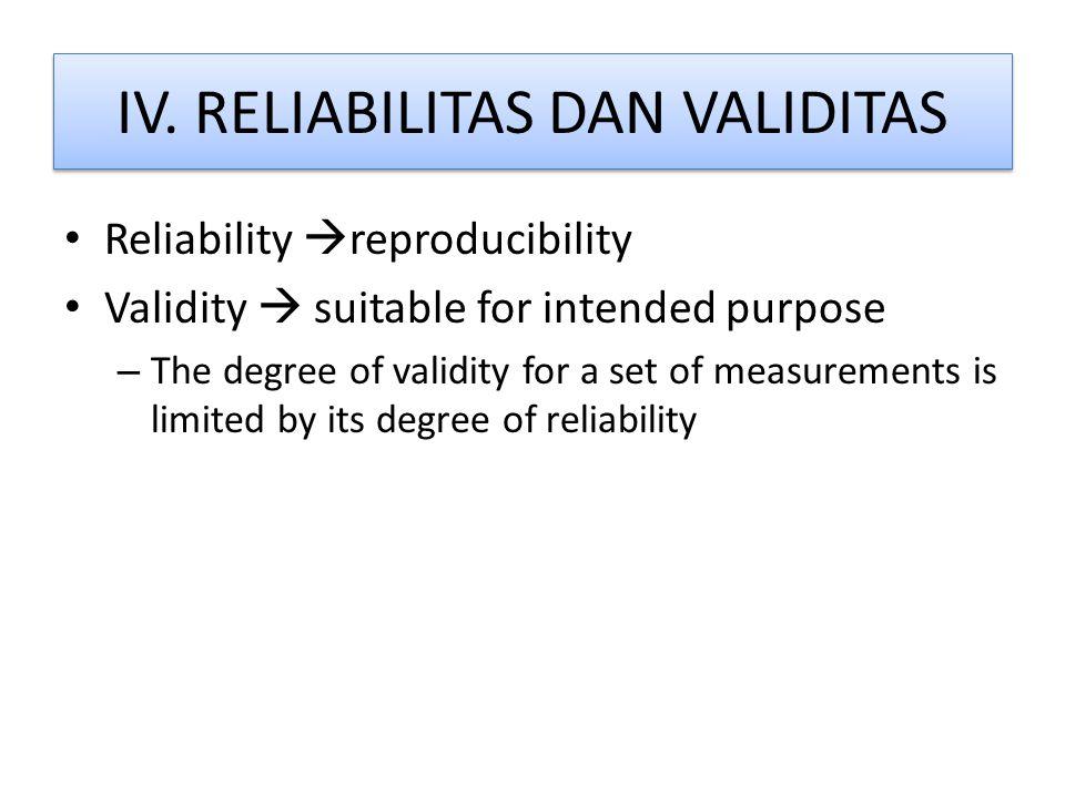 IV. RELIABILITAS DAN VALIDITAS