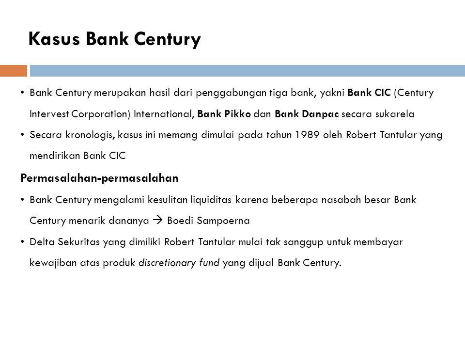 Kasus Bank Century Permasalahan-permasalahan