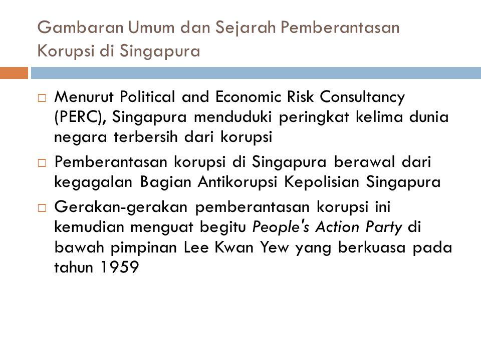 Gambaran Umum dan Sejarah Pemberantasan Korupsi di Singapura