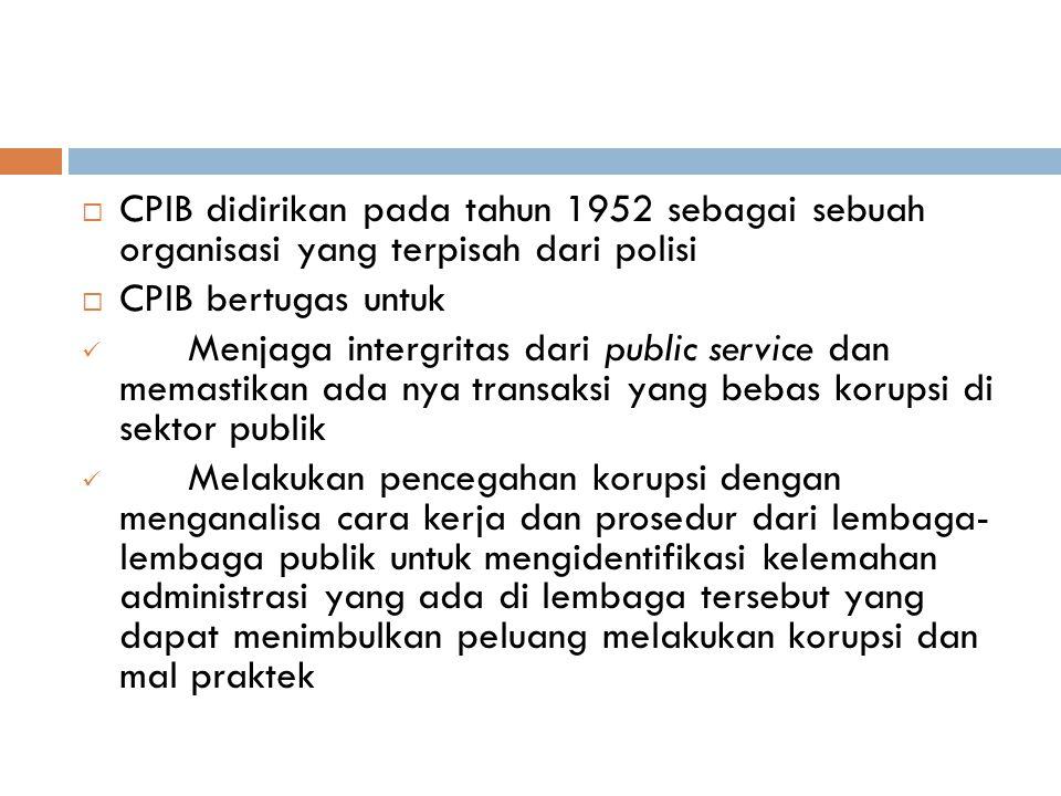CPIB didirikan pada tahun 1952 sebagai sebuah organisasi yang terpisah dari polisi