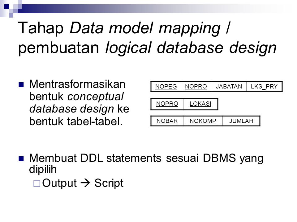 Tahap Data model mapping / pembuatan logical database design