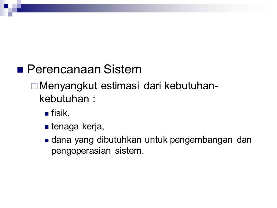Perencanaan Sistem Menyangkut estimasi dari kebutuhan-kebutuhan :