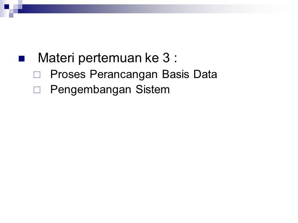 Materi pertemuan ke 3 : Proses Perancangan Basis Data