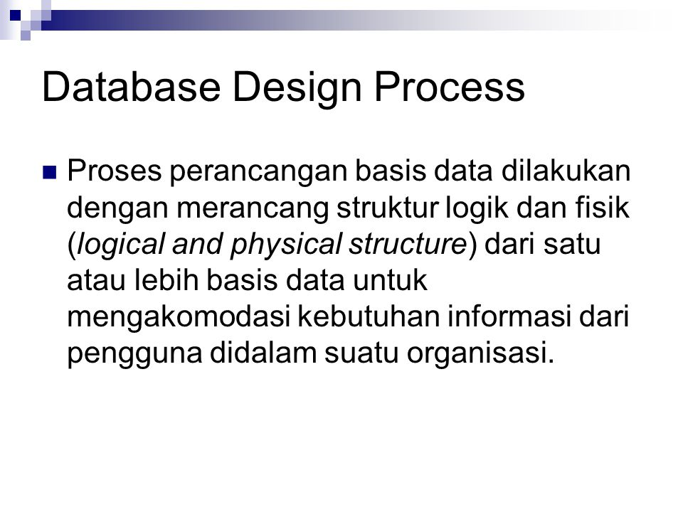 Database Design Process