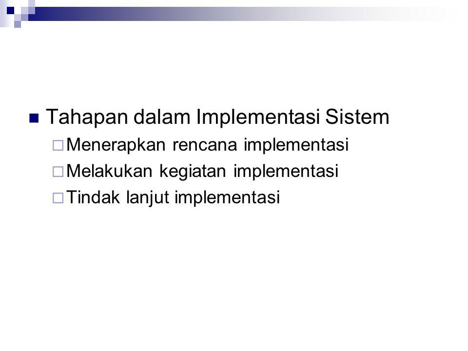 Tahapan dalam Implementasi Sistem