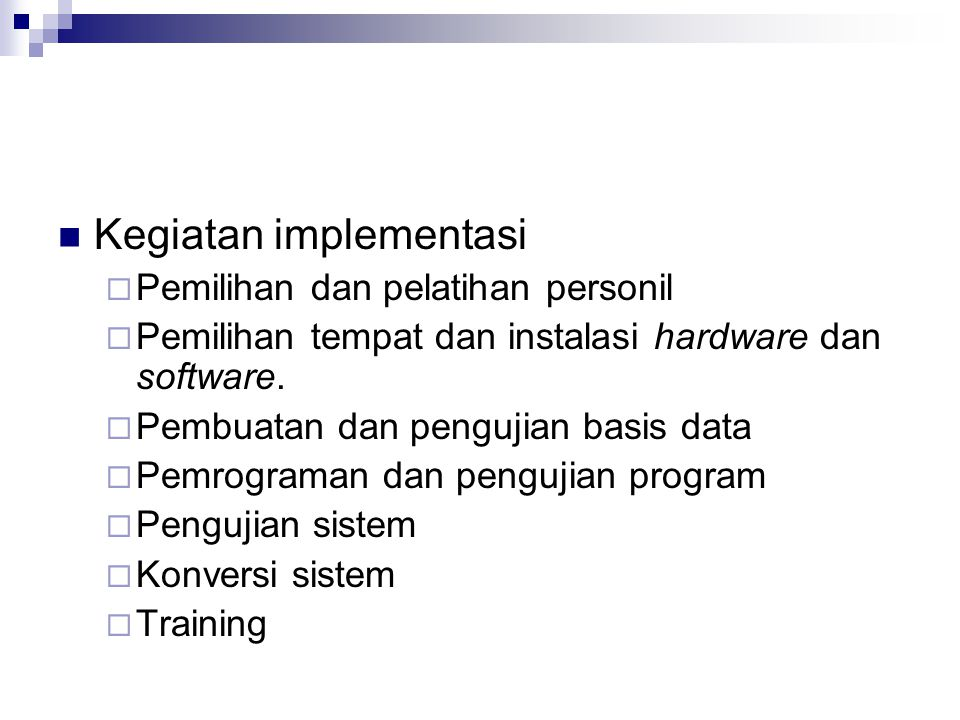 Kegiatan implementasi