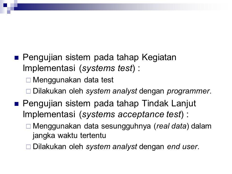 Pengujian sistem pada tahap Kegiatan Implementasi (systems test) :