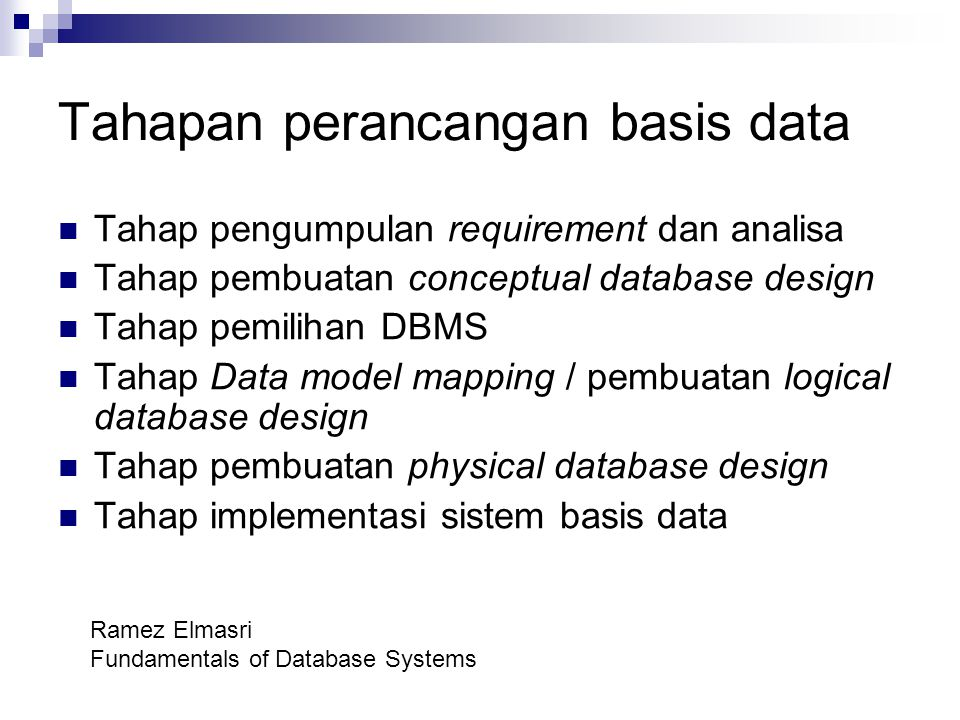 Tahapan perancangan basis data