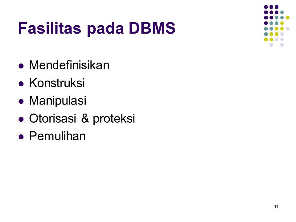 Fasilitas pada DBMS Mendefinisikan Konstruksi Manipulasi