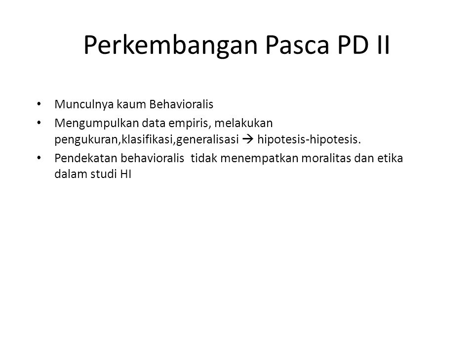 Perkembangan Pasca PD II