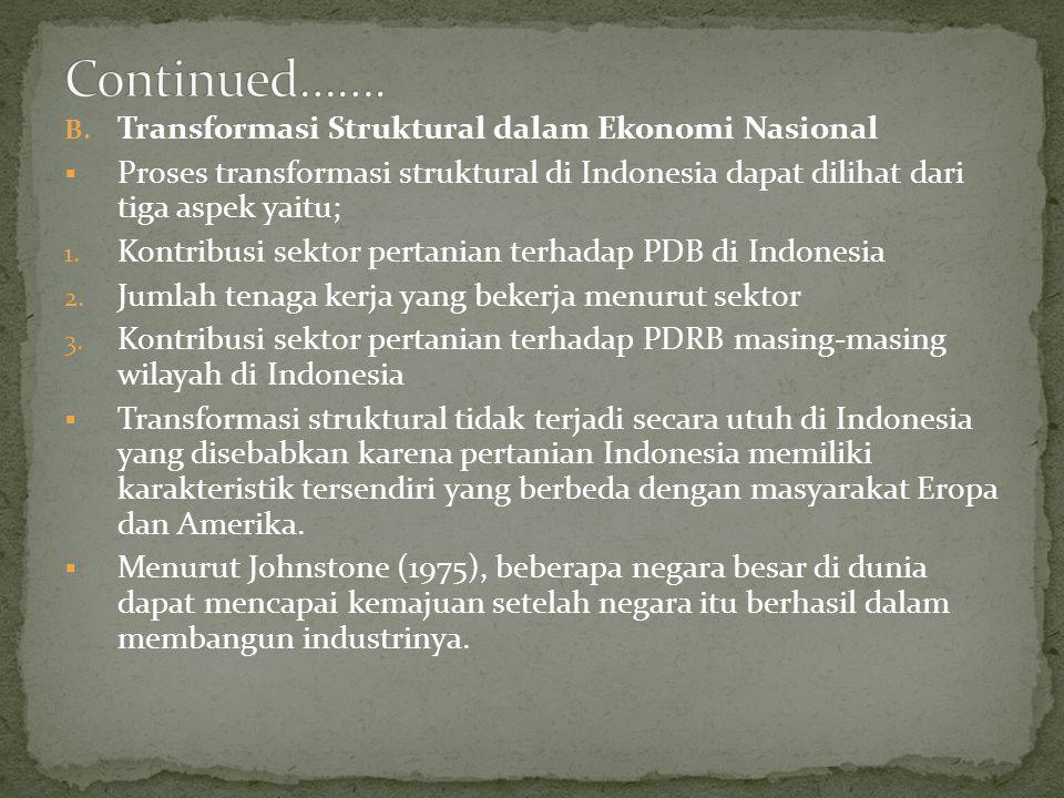 Continued……. Transformasi Struktural dalam Ekonomi Nasional