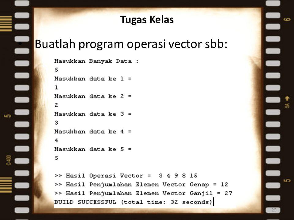 Buatlah program operasi vector sbb:
