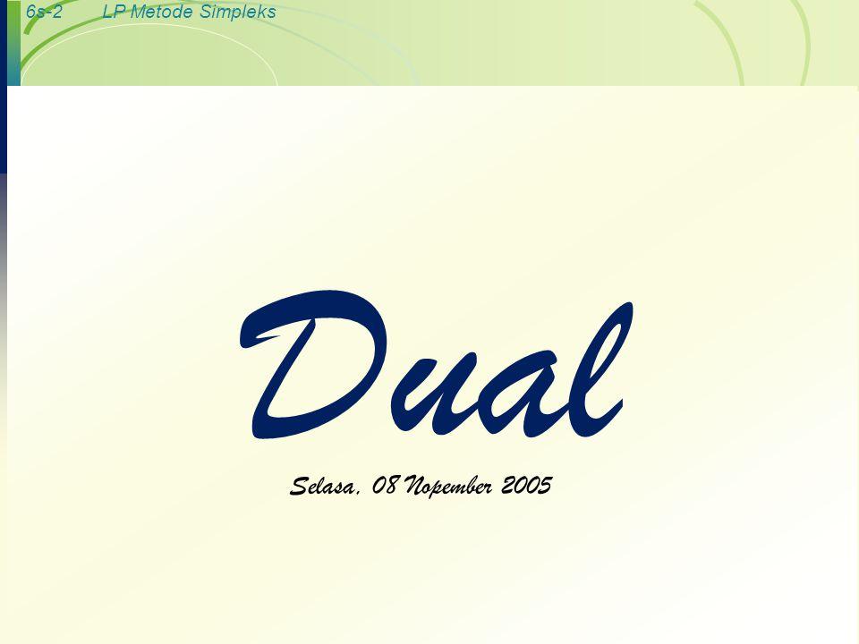 Dual Selasa, 08 Nopember 2005