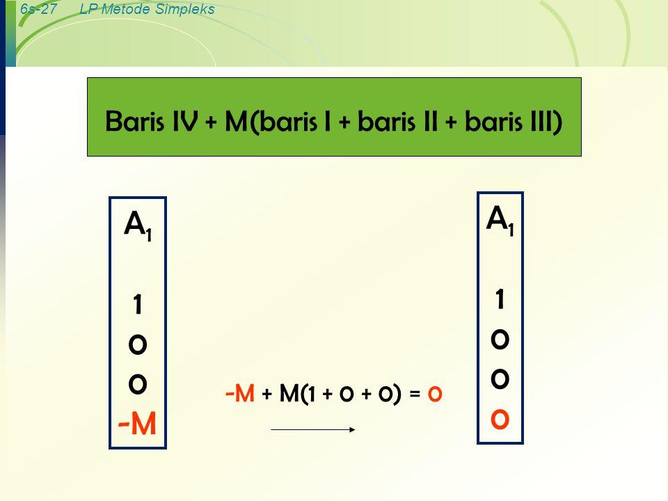 Baris IV + M(baris I + baris II + baris III)