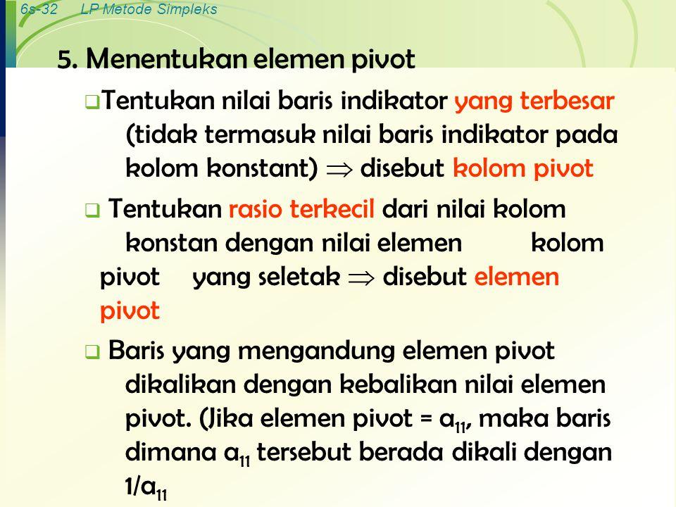 5. Menentukan elemen pivot