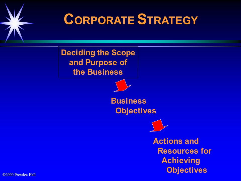 CORPORATE STRATEGY Deciding the Scope and Purpose of the Business