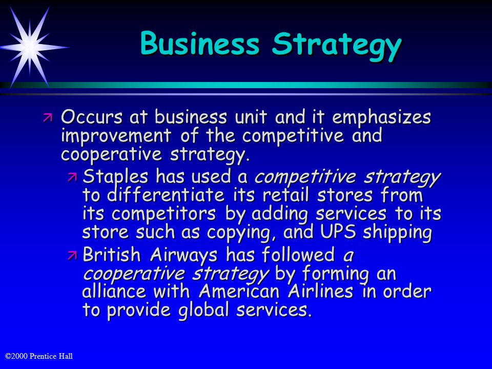 Business Strategy Occurs at business unit and it emphasizes improvement of the competitive and cooperative strategy.