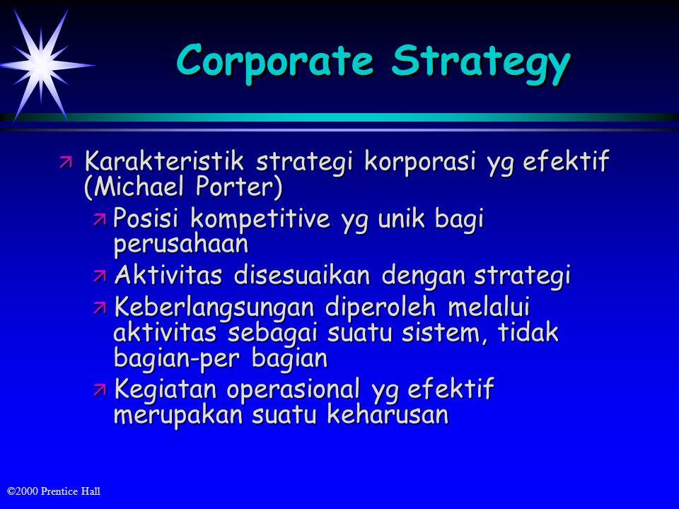 Corporate Strategy Karakteristik strategi korporasi yg efektif (Michael Porter) Posisi kompetitive yg unik bagi perusahaan.