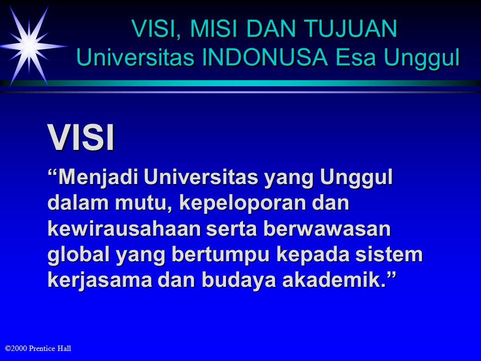 VISI, MISI DAN TUJUAN Universitas INDONUSA Esa Unggul