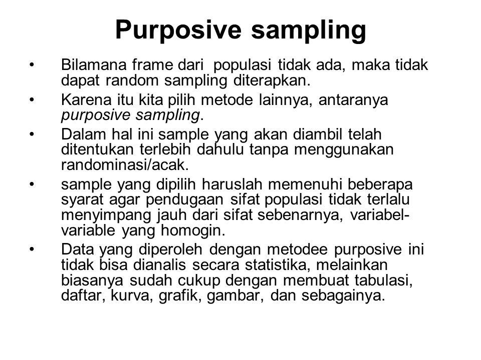Purposive sampling Bilamana frame dari populasi tidak ada, maka tidak dapat random sampling diterapkan.