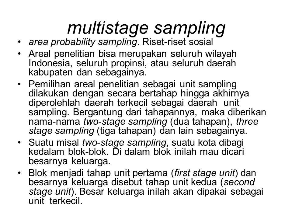 multistage sampling area probability sampling. Riset-riset sosial