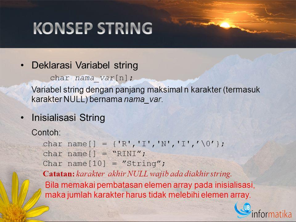 KONSEP STRING Contoh: Deklarasi Variabel string Inisialisasi String
