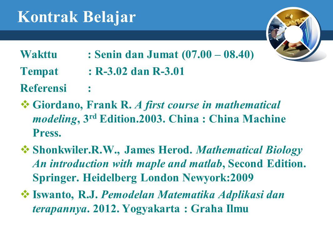 Kontrak Belajar Wakttu : Senin dan Jumat (07.00 – 08.40)