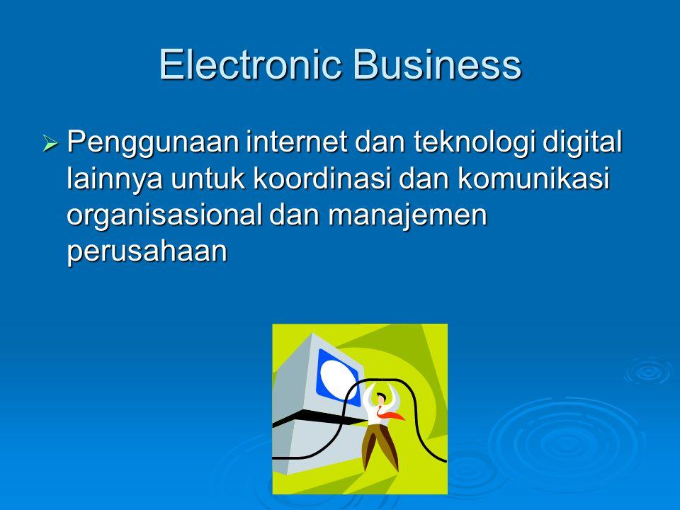 Electronic Business Penggunaan internet dan teknologi digital lainnya untuk koordinasi dan komunikasi organisasional dan manajemen perusahaan.