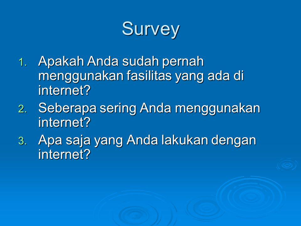 Survey Apakah Anda sudah pernah menggunakan fasilitas yang ada di internet Seberapa sering Anda menggunakan internet