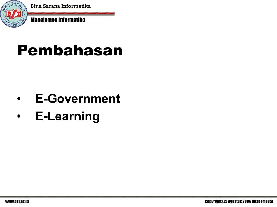Pembahasan E-Government E-Learning