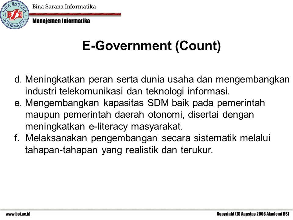 E-Government (Count) d. Meningkatkan peran serta dunia usaha dan mengembangkan. industri telekomunikasi dan teknologi informasi.