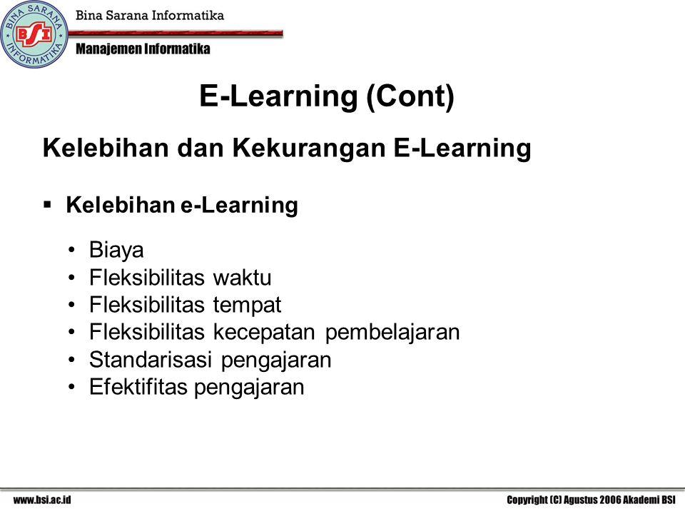 E-Learning (Cont) Kelebihan dan Kekurangan E-Learning