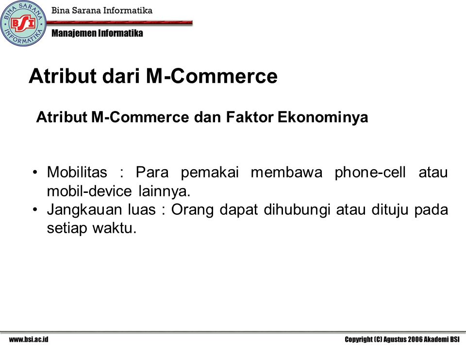 Atribut dari M-Commerce