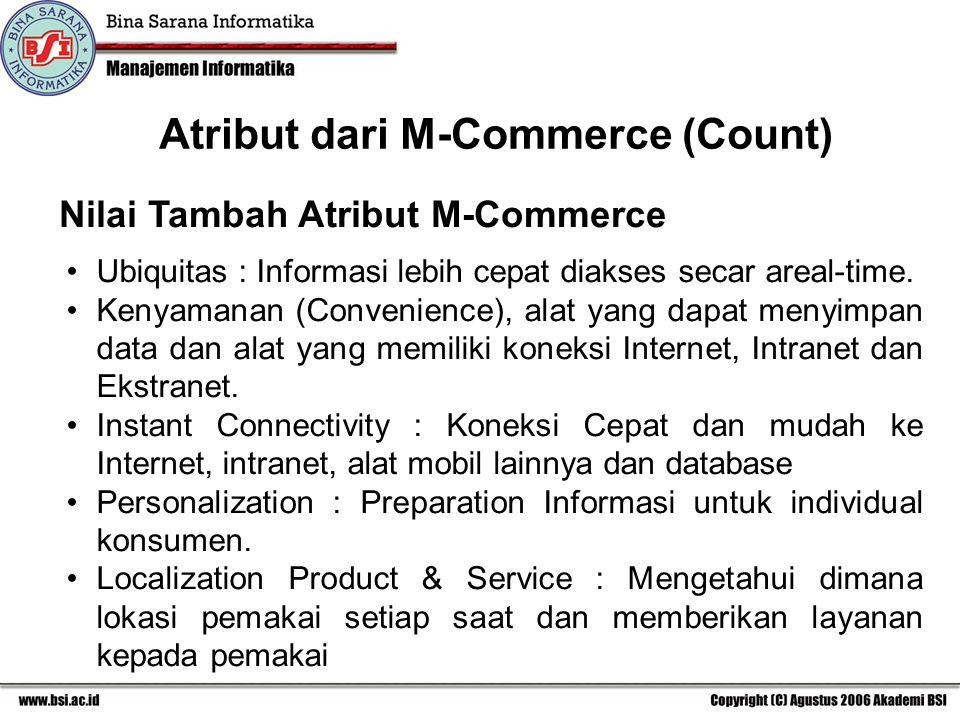 Atribut dari M-Commerce (Count)