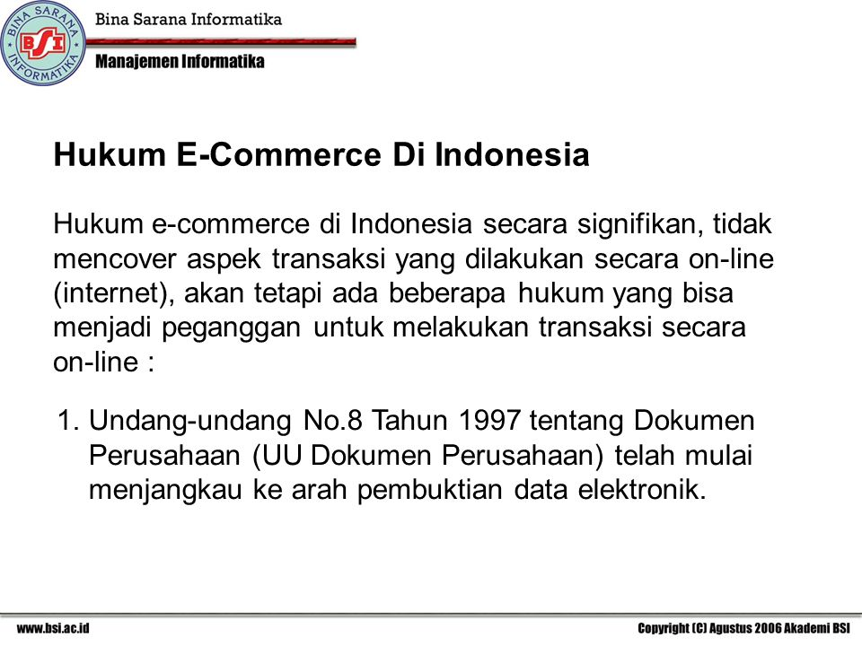 Hukum E-Commerce Di Indonesia