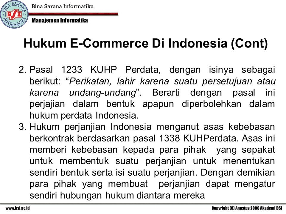 Hukum E-Commerce Di Indonesia (Cont)