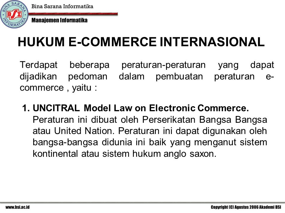 HUKUM E-COMMERCE INTERNASIONAL