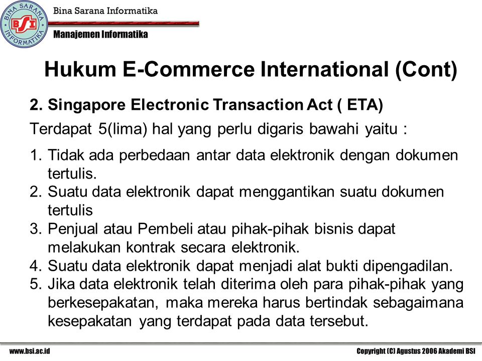 Hukum E-Commerce International (Cont)