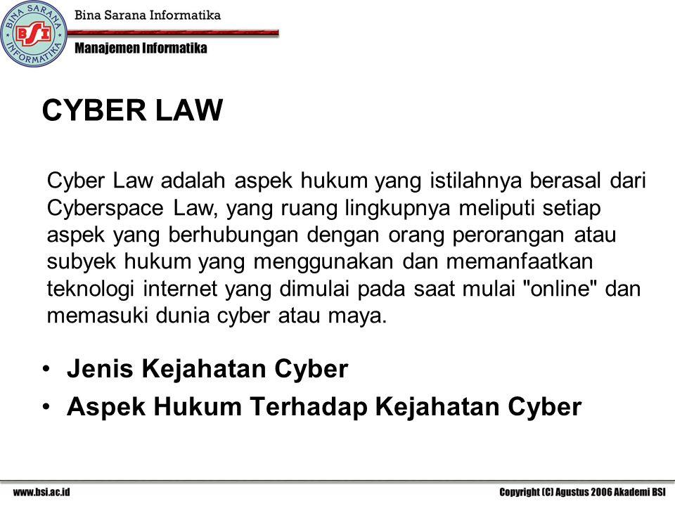 CYBER LAW Jenis Kejahatan Cyber Aspek Hukum Terhadap Kejahatan Cyber
