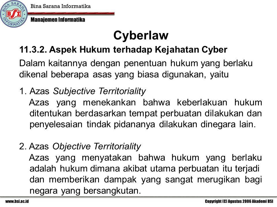 Cyberlaw 11.3.2. Aspek Hukum terhadap Kejahatan Cyber