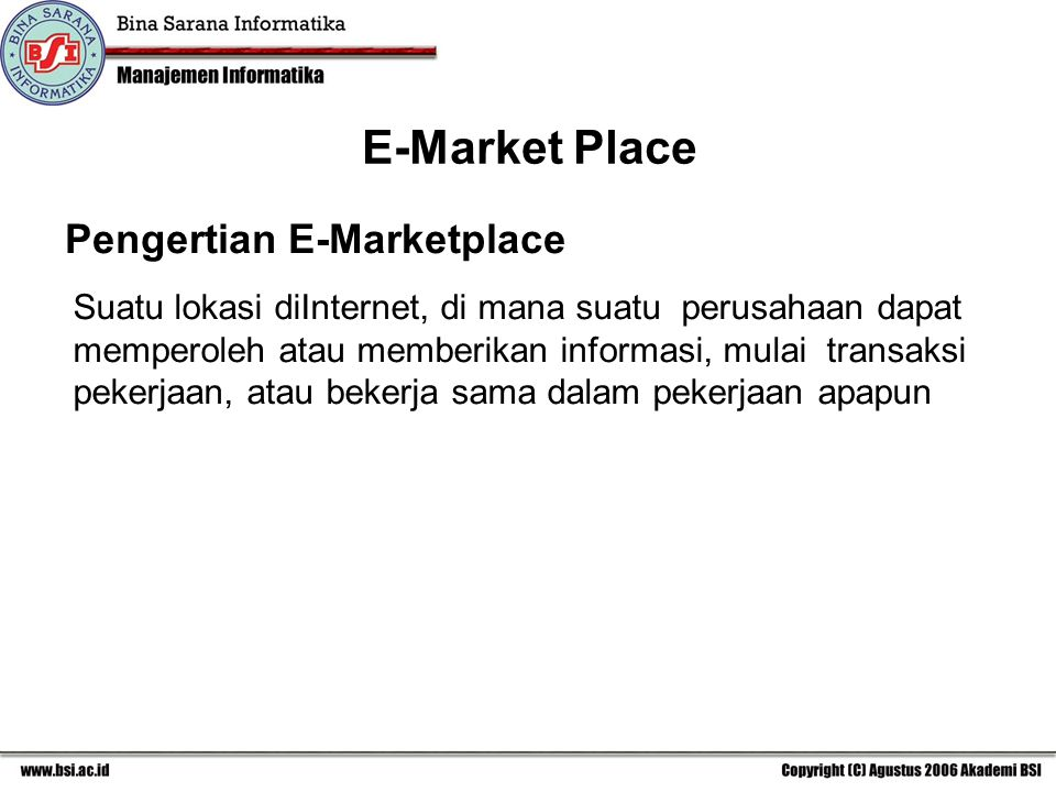 E-Market Place Pengertian E-Marketplace