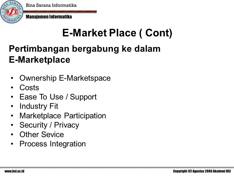 E-Market Place ( Cont) Pertimbangan bergabung ke dalam E-Marketplace