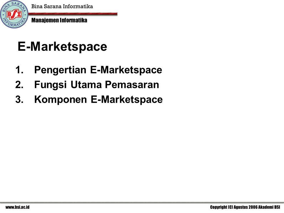 E-Marketspace Pengertian E-Marketspace Fungsi Utama Pemasaran
